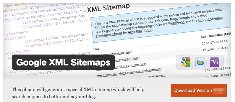 Google XML Sitemaps plugin for food blog