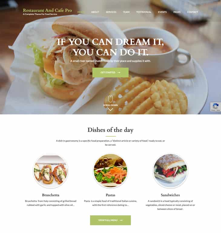 Restaurant and cafe Pro WordPress Theme