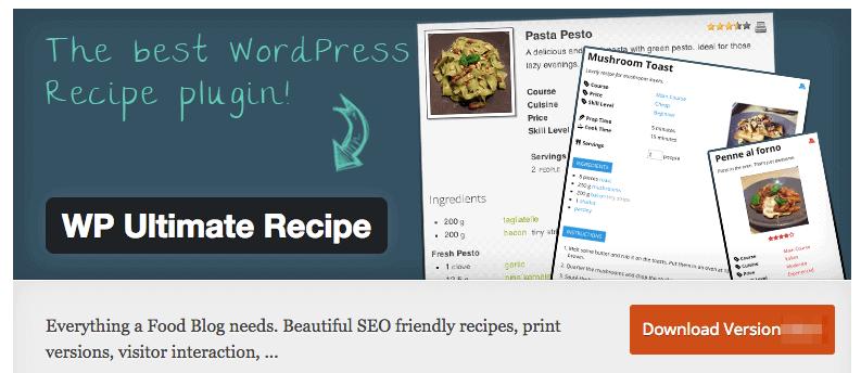 WP Ultimate Recipe Plugin for food blog