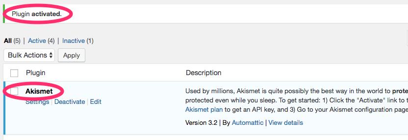activated plugin in wordpress