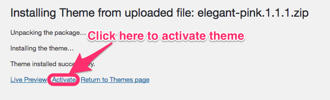 activating theme uploaded from computer on wordpress