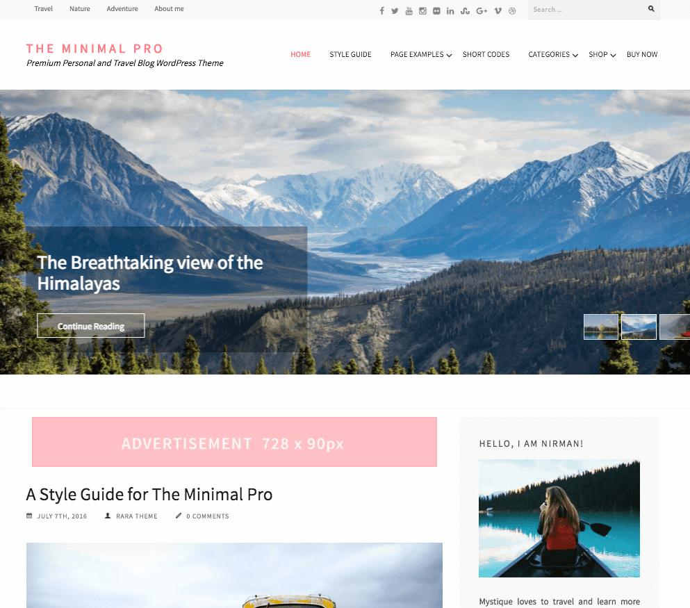 the minimal pro wordpress theme