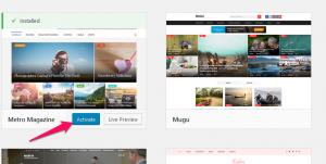 activate WordPres theme