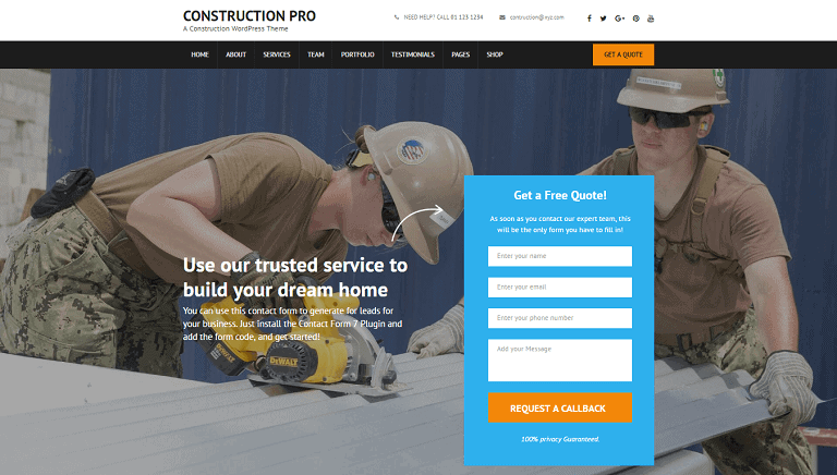 WordPress theme for construction company