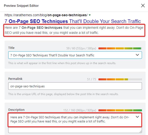 how to optimize the meta description