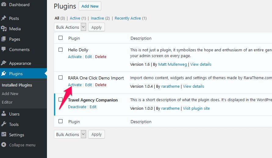 activate the WordPress plugin