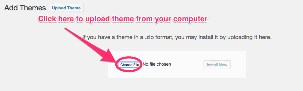 uploading theme from computer on wordpress