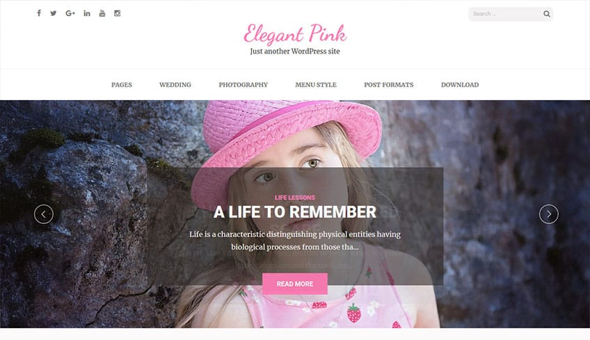 Elegant-Pink Free WordPress Theme