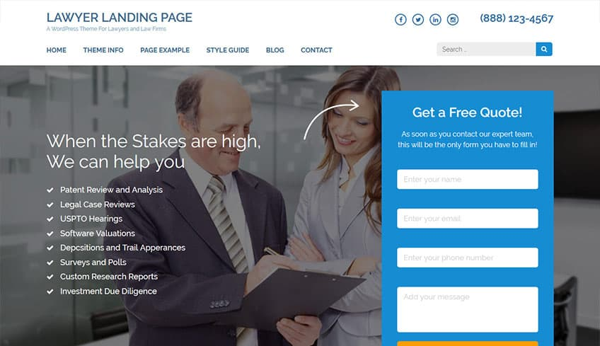 Lawyer-Landing-Page Free WordPress Theme