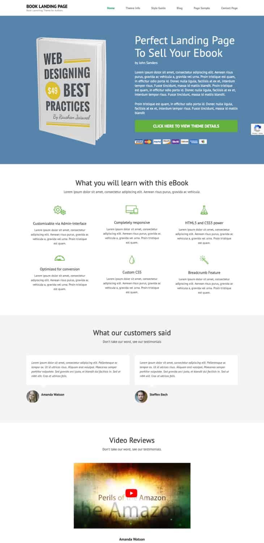Book Landing Page Free WordPress Theme