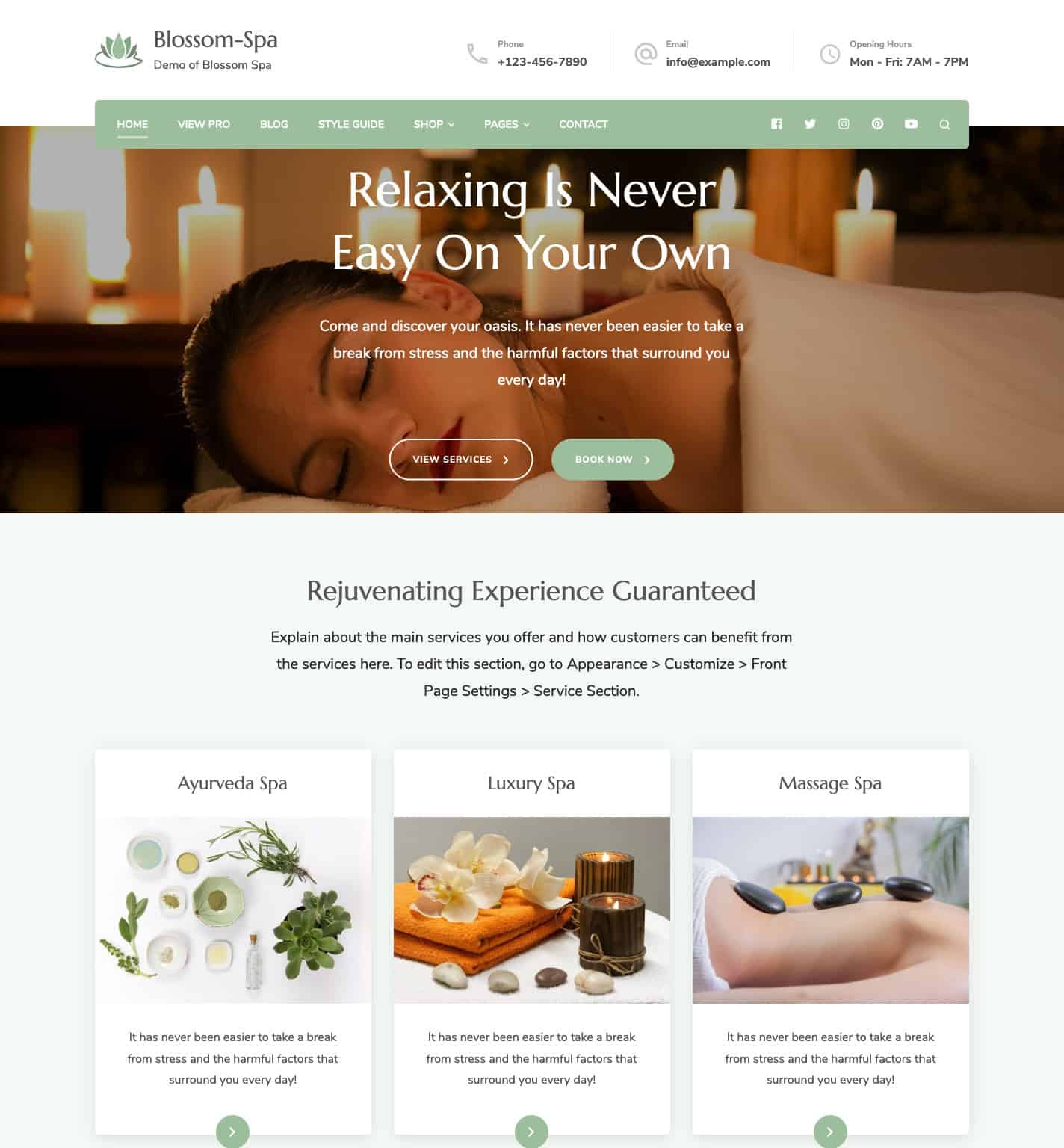 Blossom Spa Free WordPress Theme