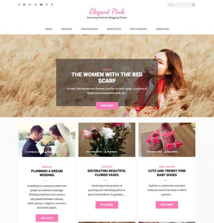 Elegant Pink Free WordPress Theme