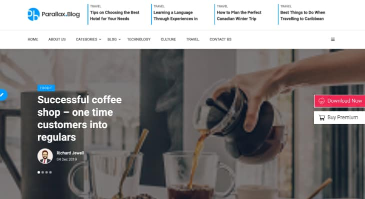 Parallax Blog WordPress Theme
