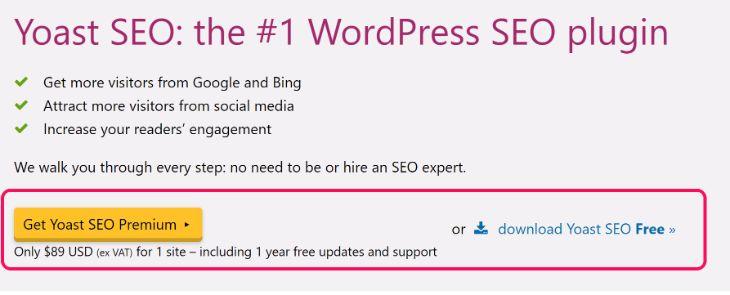 Pricing Detail of Yoast SEO Premium WordPress Plugin