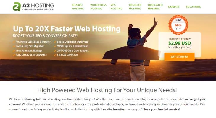 Homepage of A2 Hosting