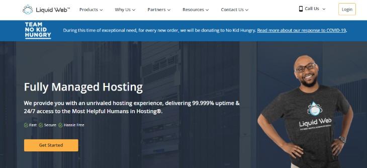 Homepage of Liquid Web Hosting