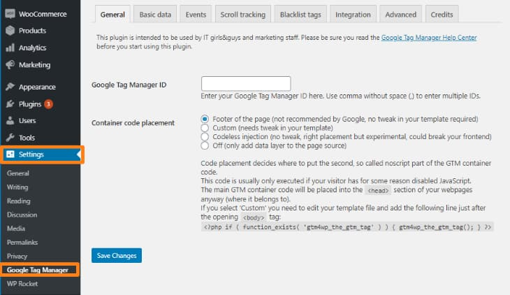 editing settings of google tag manager