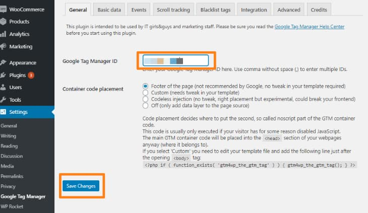 save changes on google tag manager