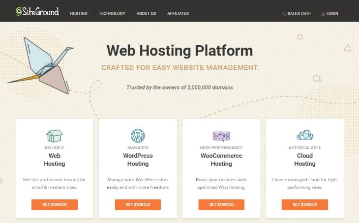 Homepage of SiteGround Hosting