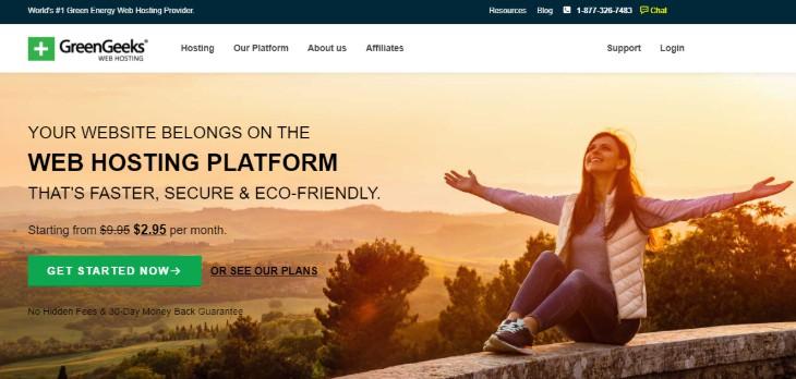 Homepage of GreenGeeks Hosting