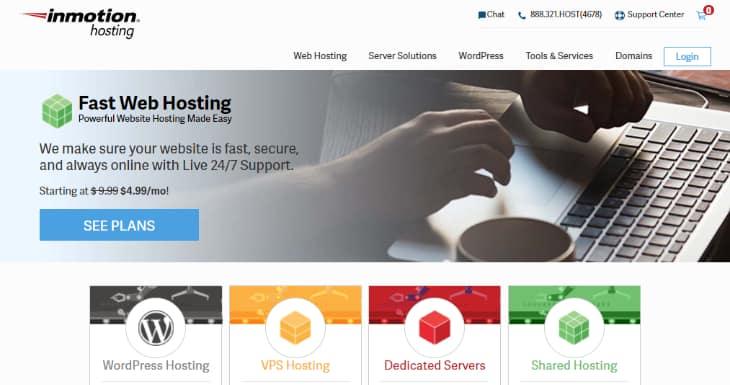Homepage of InMotion Hosting