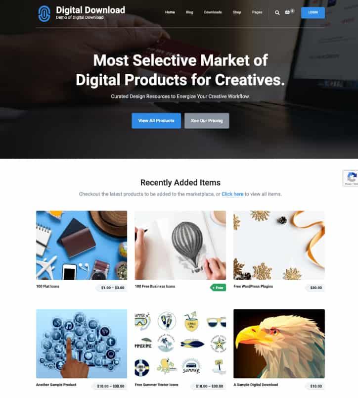 Digital Download Free WordPress Theme
