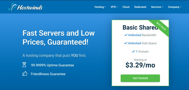 Homepage of the Hostwinds Website Hosting Service Provider