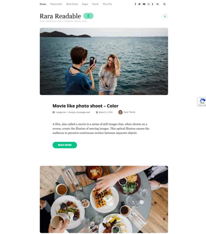 Rara Readable Free WordPress Themeg