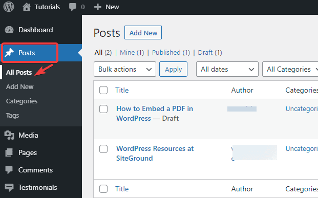 Click on all posts tab