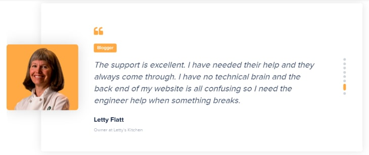 Testimonial of a blogger for Cloudways hosting
