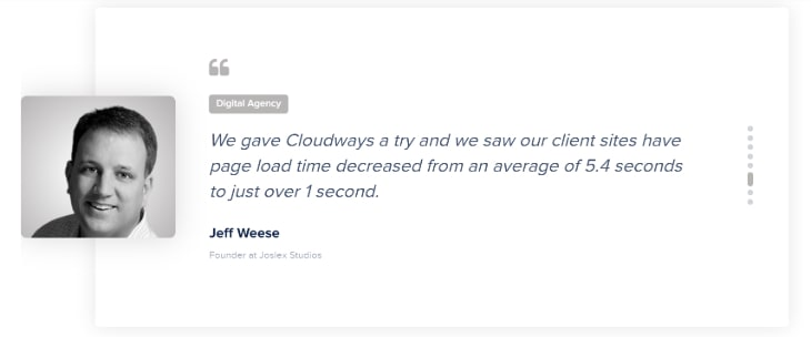 Testimonial of a digital agency owner for Cloudways hosting