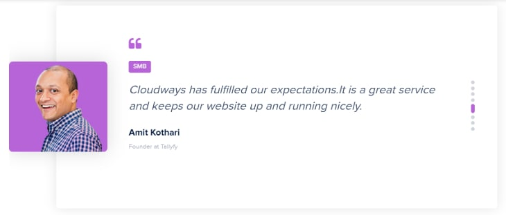 Testimonial of a small_medium business owner for Cloudways hosting