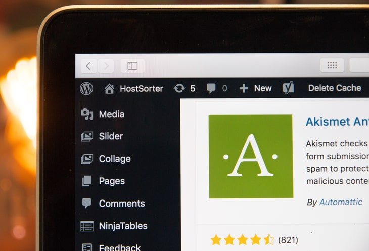 A laptop displaying the WordPress admin dashboard's Plugins page