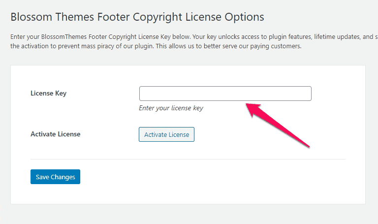 Blossom Themes Footer Copyright license