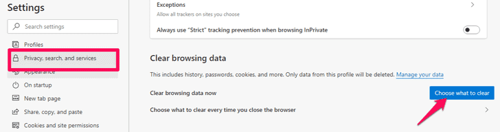 Clear browsing data option on IE