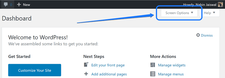 Clicking at the Screen Options button below WordPress's toolbar