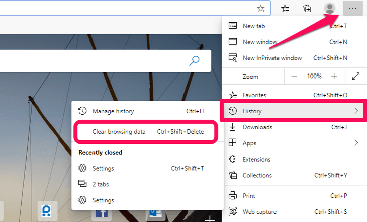 Direct clear browsing data option on Edge