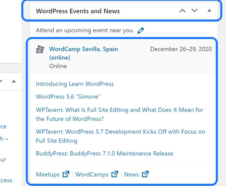 Displaying the Events and News section in the WordPress work area