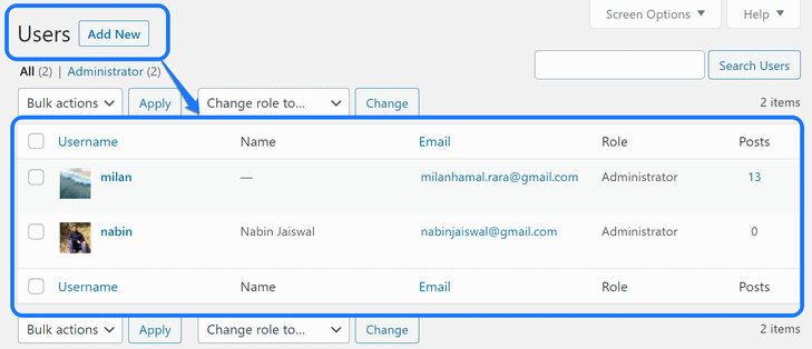 Displaying the list of all users in the WordPress's All Users page