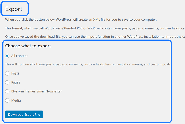 Displaying the list of content to download from WordPress's Export page