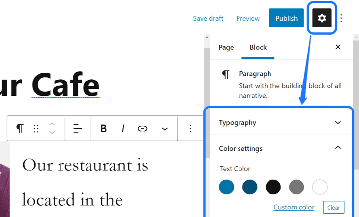 Displaying the typography and color settings inside Block section in WordPress's Page editor's right sidebar