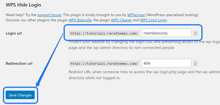 Editing the login URL and clicking at the Save Changes button in WordPress's General Settings page
