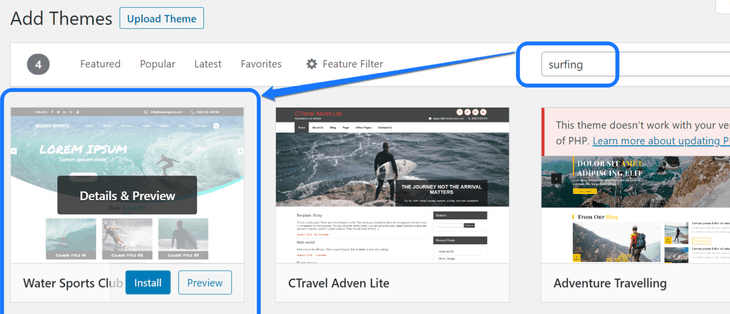 Entering a keyword and pointing at the first result in the Add Themes page in WordPress