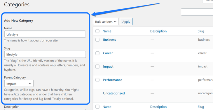 Highlighting the Add New Categories section inside WordPress's Catgories page
