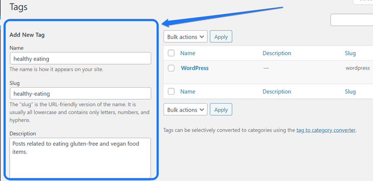 Highlighting the Add New Tag section inside WordPress's Tags page