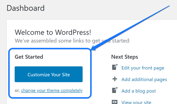 Highlighting the Get Started section in the work area of WordPress dashboard