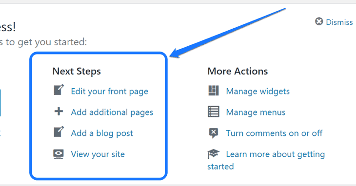 Highlighting the Next Steps section in WordPress dashboard's work area