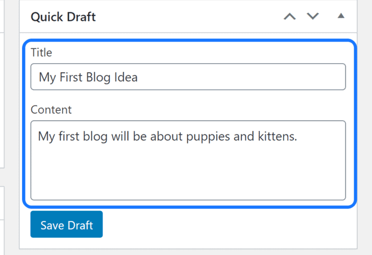 Highlighting the Quick Draft section in WordPress's work area