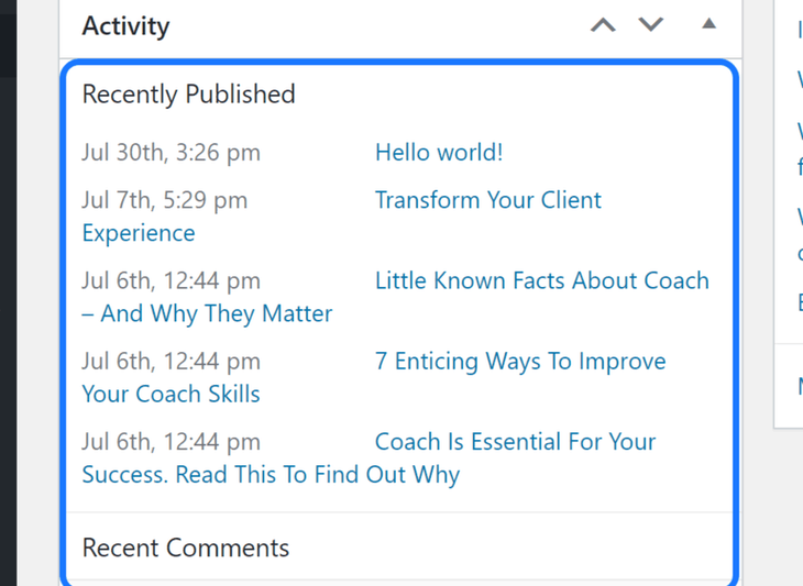 Highlighting the Recently Published section inside the Activity title in WordPress's work area