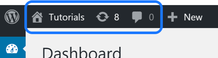 Highlighting the Tutorials and other buttons in the WordPress toolbar